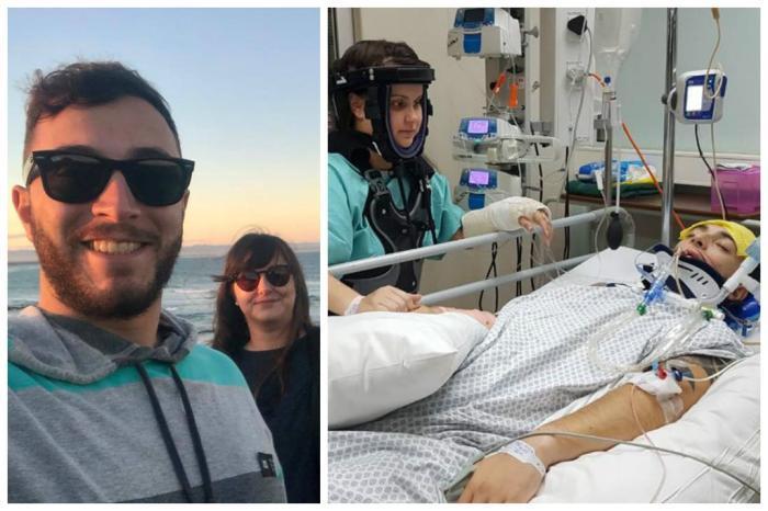 Foto de um casal sorrindo, seguida de outra foto do mesmo casal internados em um hospital